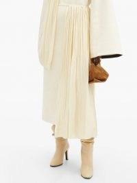 JIL SANDER Draped plissé-panel cotton-blend skirt ~ asymmetric panelled skirts