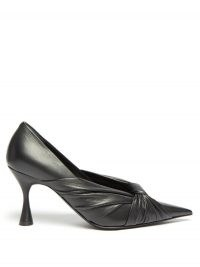 BALENCIAGA Drapy pointed wrapped-leather pumps ~ pointy front knot courts