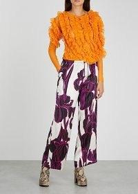 DRIES VAN NOTEN Hosto orange ruffled tulle top / bright semi sheer tops