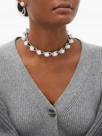 LOEWE Drop crystal-embellished chain choker ~ silver-tone statement chokers