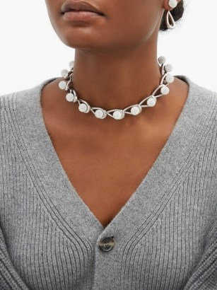 LOEWE Drop crystal-embellished chain choker ~ silver-tone statement chokers - flipped
