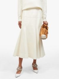 LOEWE Dropped-waist godet-insert leather skirt ~ luxe clothing ~ ivory fluted hem skirts