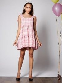 SISTER JANE Prom Tweed Mini Dress / pink checked party dresses / occasion fashion