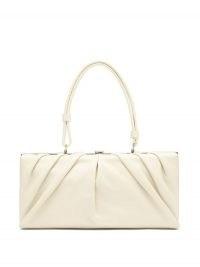 STAUD East leather shoulder bag ~ cream gathered detail bags ~ elongated handbag ~ vintage style handbags