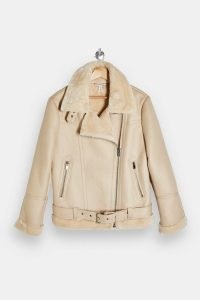 TOPSHOP Ecru Biker Jacket / faux fur trimmed jackets