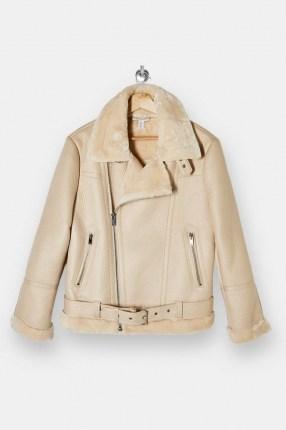 TOPSHOP Ecru Biker Jacket / faux fur trimmed jackets - flipped