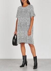 EILEEN FISHER Checked Tencel-blend dress ~ check print short sleeve shift
