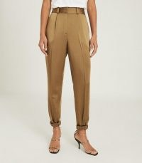 REISS ELYSSAH SATIN PLEATED TROUSERS BRONZE ~ luxe style tailored pants