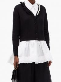 SIMONE ROCHA Embellished and ruffled wool-blend cardigan ~ black ruffle trim V neck cardigans