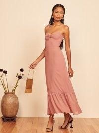 REFORMATION Emersyn Dress Praline ~ cami strap frill hem dresses