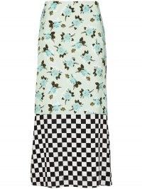 Erdem Vaughn dual-pattern skirt / mixed print skirts / florals & checks