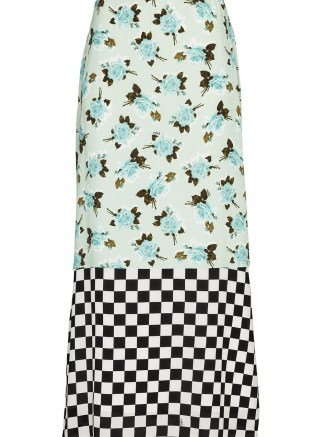 Erdem Vaughn dual-pattern skirt / mixed print skirts / florals & checks - flipped