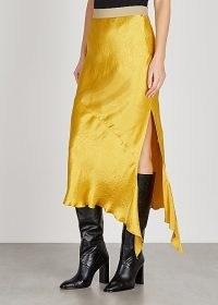 ERIKA CAVALLINI Jodie yellow satin midi skirt | slinky asymmetric skirts