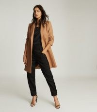 REISS EVIE WOOL BLEND MID LENGTH OVERCOAT CAMEL ~ light brown winter coats ~ smart overcoats