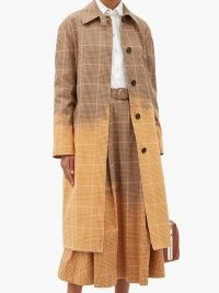 MSGM Faded checked single-breasted cotton trench coat | check print coats