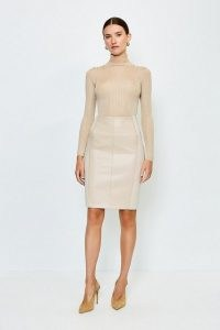 KAREN MILLEN Faux Leather and Ponte Panelled Pencil Skirt Natural / luxe style panel detail skirts