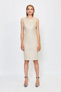 KAREN MILLEN Faux Leather Panelled Dress Natural / sleeveless form fitting dresses