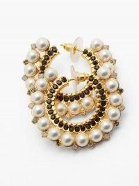 ERDEM Faux-pearl and crystal-embellished hoop earrings ~ glamorous hoops
