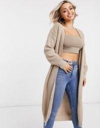 Femme Luxe knitted long line cardi in camel ~ light brown longline open front cardigans