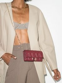Fendi logo-embossed red leather clutch ~ small chain strap crossbody bags