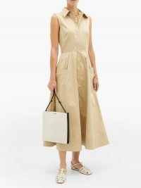 CO Flared cotton-sateen shirt dress ~ classic sleeveless fit and flare dresses