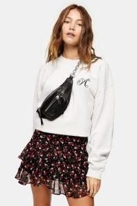 Topshop Floral Print Ruffle Mini Skirt | short floaty skirts