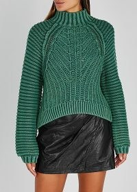 FREE PEOPLE Sweetheart green ribbed cotton jumper ~ chunky high neck knits ~ rib detail jumpers