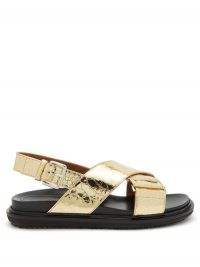 MARNI Fussbett crackled-effect leather sandals / gold crossover flats
