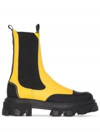 GANNI calf-height Chelsea ankle boots in yellow and black