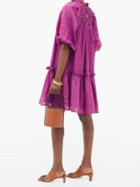 SEA Geneva smocked cotton-voile trapeze dress ~ bright pink loose fit dresses