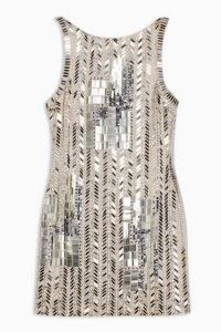 TOPSHOP Geometric Embellished Mini Dress / shimmering metallic dresses / glittering party fashion