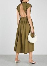 GESTUZ Cassia olive cotton midi dress / green high neck open back dresses