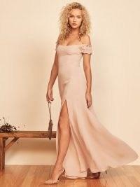 REFORMATION Gimlet Dress Champagne ~ off the shoulder split skirt event dresses