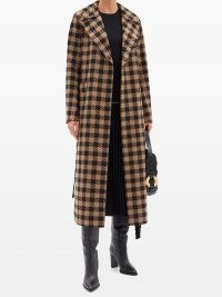 HARRIS WHARF LONDON Gingham wool-blend trench coat | brown and black checked winter coats