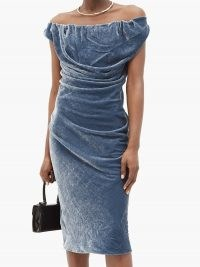 VIVIENNE WESTWOOD Ginnie draped velvet pencil dress in steel blue ~ luxe bardot evening dresses