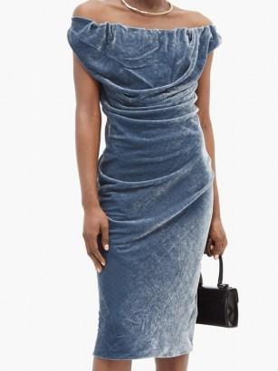 VIVIENNE WESTWOOD Ginnie draped velvet pencil dress in steel blue ~ luxe bardot evening dresses - flipped
