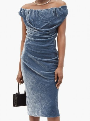 VIVIENNE WESTWOOD Ginnie draped velvet pencil dress in steel blue ~ luxe bardot evening dresses