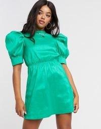 Girl In Mind sateen puff sleeve mini shift dress in green