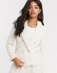 Girl In Mind tweed double breasted jacket in cream check – fringed jackets