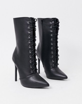 Glamorous lace up boots in black leather look ~ point toe stiletto heel boots - flipped