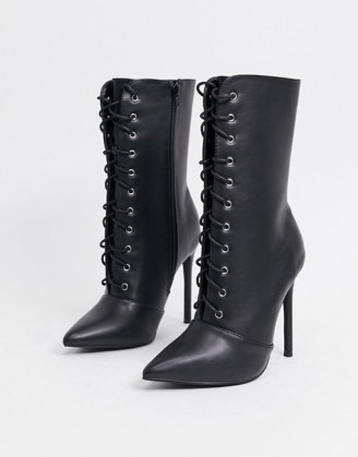 Glamorous lace up boots in black leather look ~ point toe stiletto heel boots