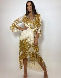 FOREVER UNIQUE Gold Paisley Drop Hem Wrap Dress / high low occasion dresses