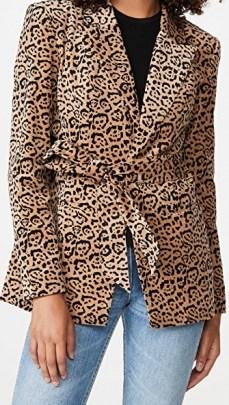 Good American Velvet Leopard Blazer Caramel Leopard 001 / animal print blazers - flipped
