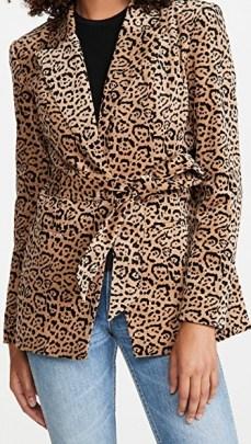 Good American Velvet Leopard Blazer Caramel Leopard 001 / animal print blazers
