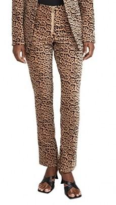 Good American Velvet Leopard Suit Pants / animal print trousers / suits