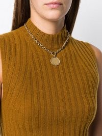 Goossens Talisman medal pendant necklace ~ chunky chain gold tone necklaces ~ round pendants ~ statement jewellery
