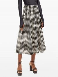 NORMA KAMALI Grace houndstooth-print flared jersey skirt | black and white checked skirts