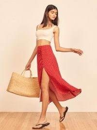 REFORMATION Grazie Skirt Ditty / red split polka dot skirts / spot prints