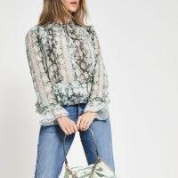RIVER ISLAND Green long sleeve animal print blouse / frill edged blouses