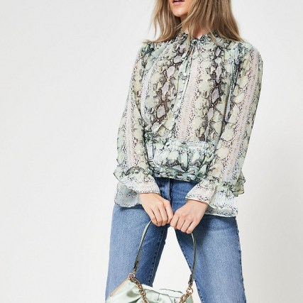 RIVER ISLAND Green long sleeve animal print blouse / frill edged blouses - flipped